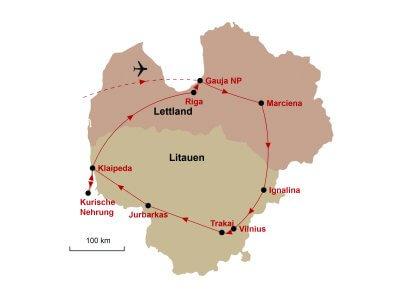 Karte Litauen Lettland