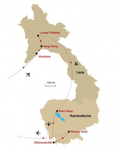 Karte Laos Kambodscha