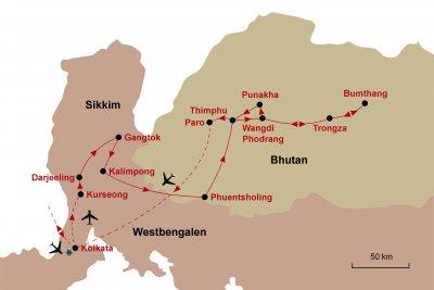 Karte Sikkim Bhutan