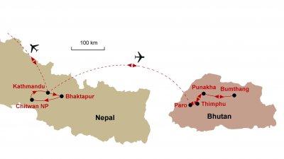 Karte Nepal Bhutan