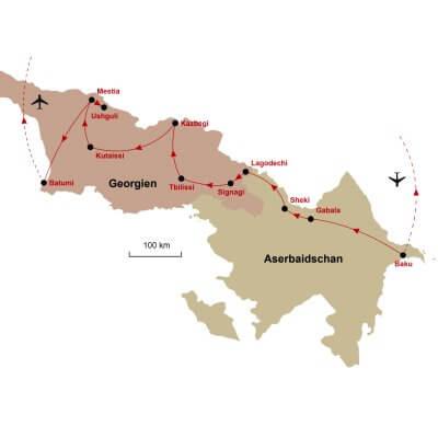 Karte Aserbaidschan Georgien
