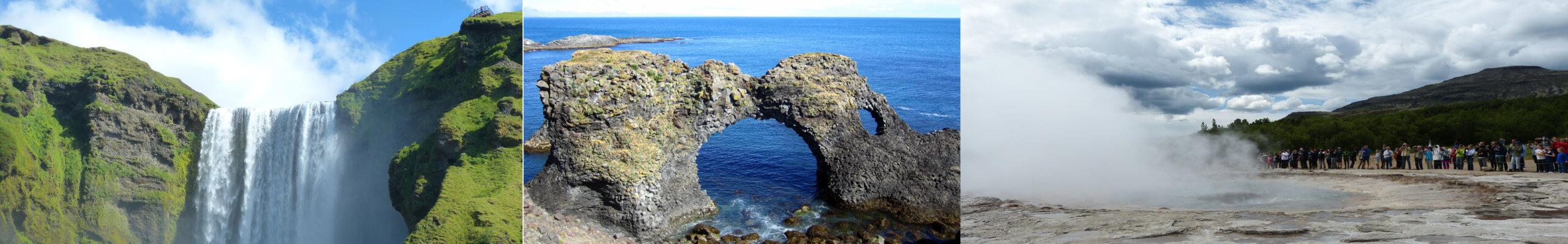 Die Highlights Islands: Skogafoss, Lochfelsen im Snaefellsness Nationalpark und ein Geysir